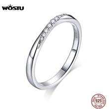 Wostu 100% 925 Sterling Silver Brillante Zirconia Anelli per Le Donne di Nozze di Fidanzamento Semplice Anello di Modo 925 Dei Monili CTR095