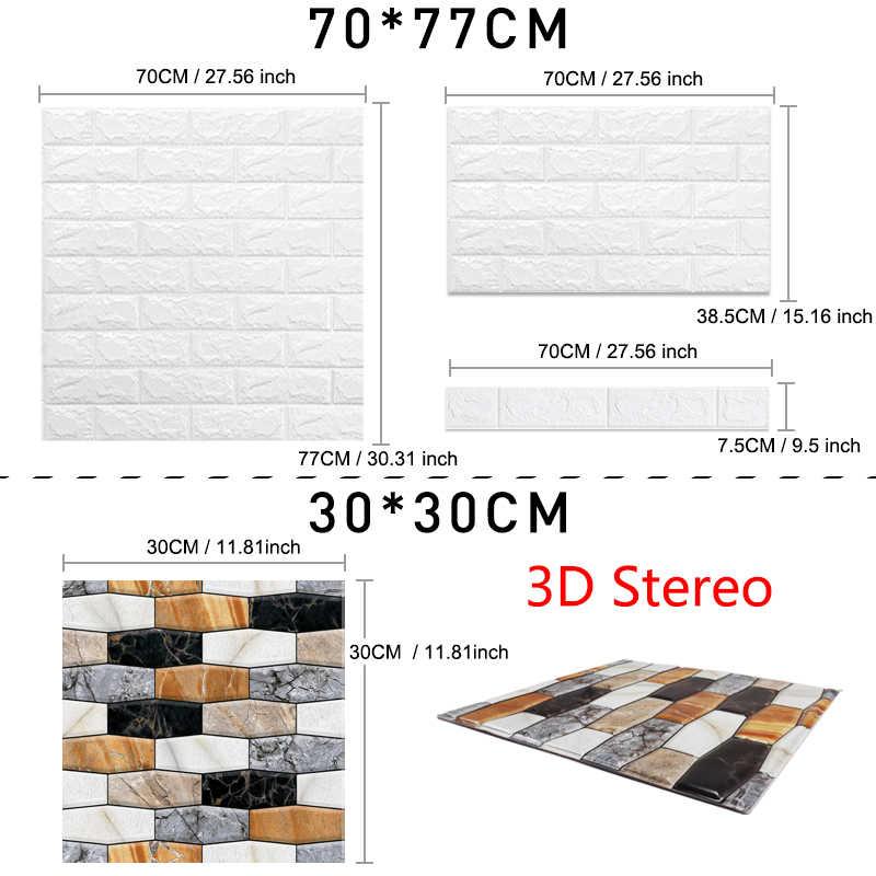 3D טפט DIY עמיד למים קיר מדבקות שיש מדבקת 70cm * 77cm 3d לוחות קיר לסלון 3D לבני אבן קיר ניירות