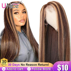 13x4 Highlight Lace Front Human Hair Wig Honey Blonde Brown Pre Plucked Brazilian Remy Hair Natural Wigs For Women Unice Hair
