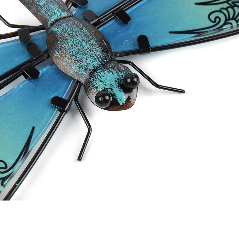 Metall Libelle Wand Kunstwerk für Garten Dekoration Miniaturas Tier Outdoor Statuen und Skulpturen für Hof Dekoration