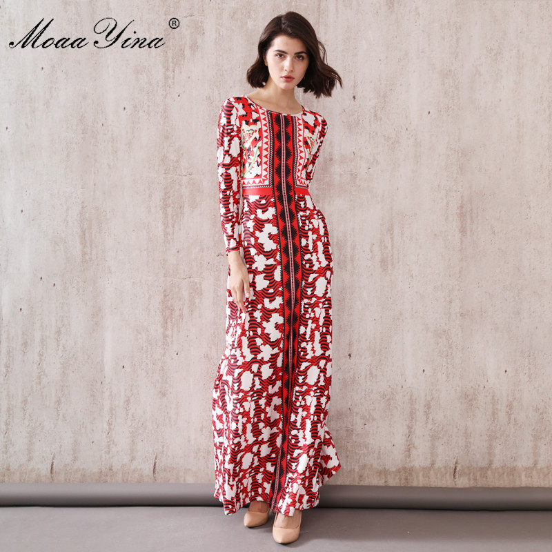MoaaYina Fashion Designer Runway dress Spring Autumn Women Dress Vintage Print Slim Maxi Dresses