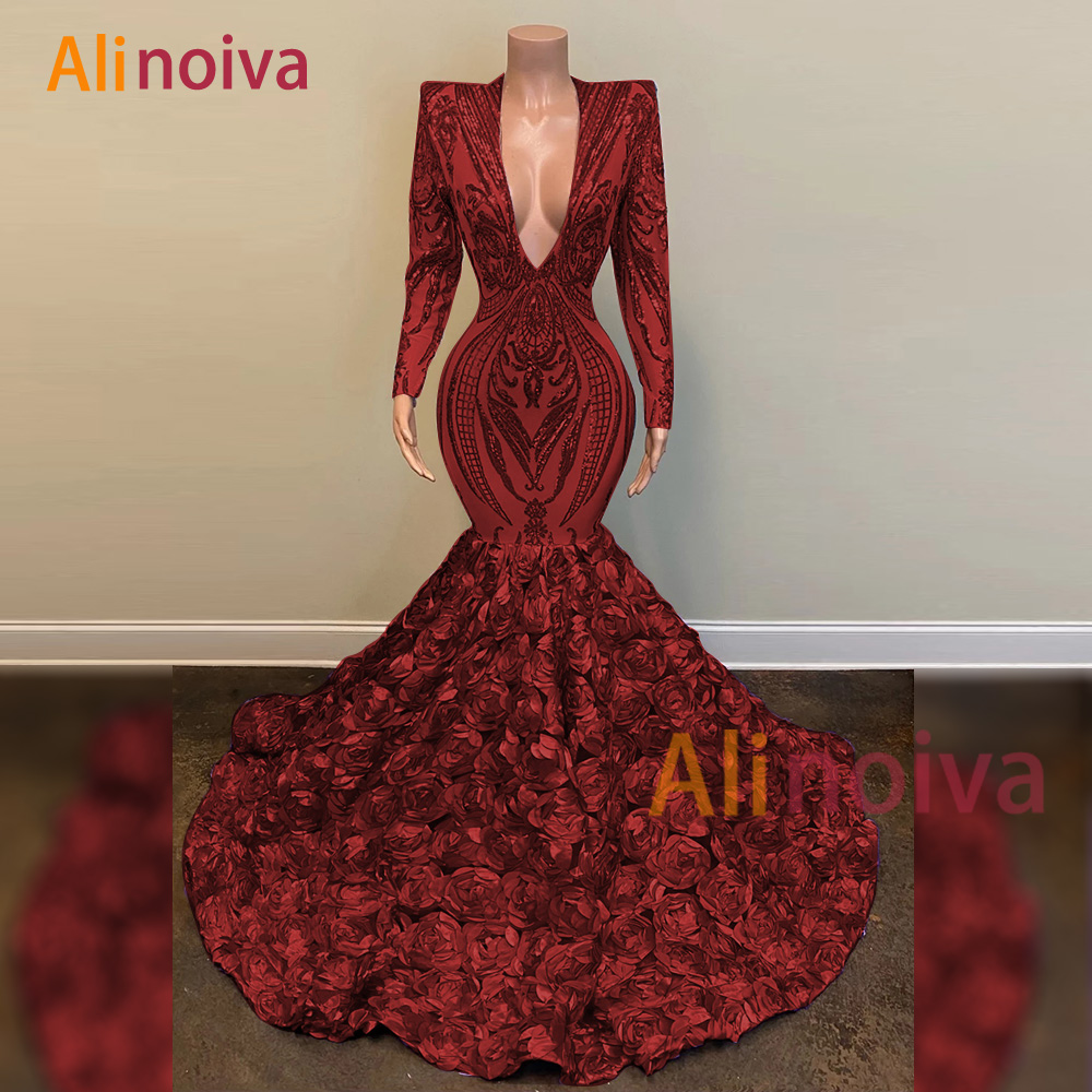 Luxury Prom Dress 2020 V-neck Long Sleeves Sequin African Black Girl Mermaid Gala Formal Party Evening Gowns
