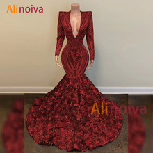 Luxury Prom Dress 2020 V-neck Long Sleeves Sequin African Bl