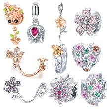 BISAER 925 Sterling Silver Crystal Rose Flower Tulip Flower Charms Magnolia Flower Cerise Beads fit Bracelets DIY Jewelry Making