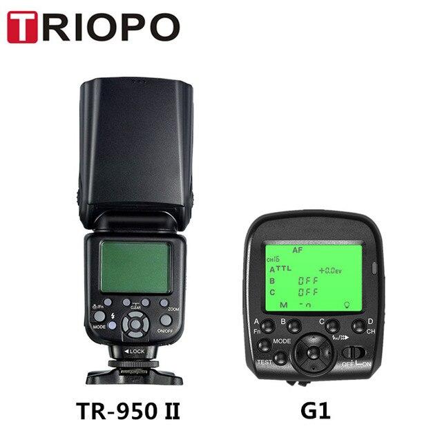 Triopo disparador de Flash inalámbrico TR 950 II para cámara Nikon Canon 650D 550D 450D 1100D 60D 7D 5D, Flash Light Speedlite + G1 2,4G