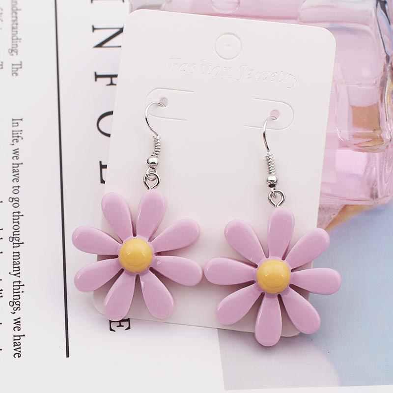 ผู้หญิงดอกไม้ต่างหูต่างหูสำหรับสาวเด็กเงินเครื่องประดับราคาถูกขายส่งน่ารักขนาดเล็ก Daisy ต่างหู 2019 Statement