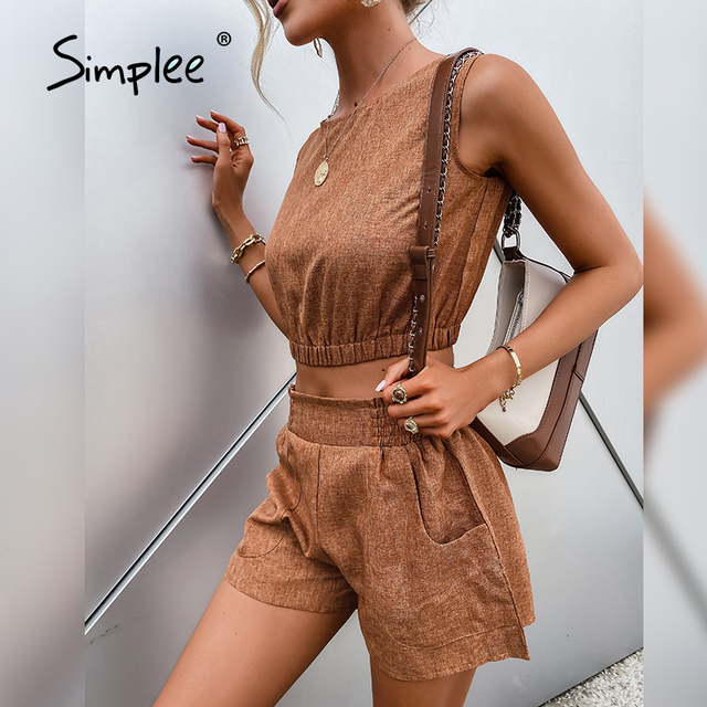 Simplee Casual Brown Women's Two-piece Suits High Street Solid Sleeveless Short Top Shorts Sets Summer Office Ladies Suits 2021 2