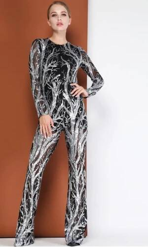 DEIVE TEGER Women Personalized Silver Sequined Black Mesh Long Sleeve Jumpsuit HB8170