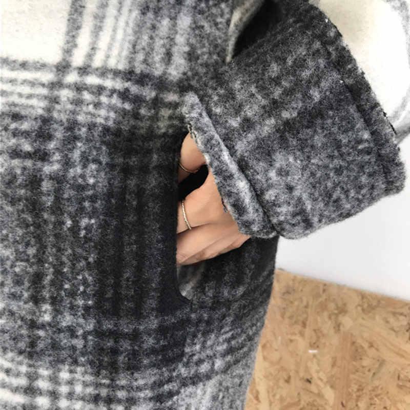 معطف نسائي ربيعي منقوش من الصوف جاكيت عتيق بأكمام طويلة من شبيه بجناح الخفّاش معاطف نسائية كورية 2020 ملابس خارجية للخريف