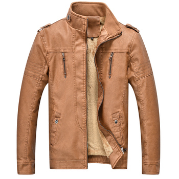 Winter Men's Fashion Retro Motorcycle PU Leather Jacket Male Casual Fleece Thicker Stand Collar Motorbike Leather Jacket for Men