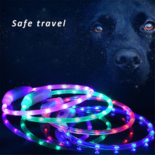 Cuttable Pets Neck Strap LED Dog Collar Harness Electric Lights Lead Leashes USB Charging Cats Nights Safety Cool Flashing 41cm(China)