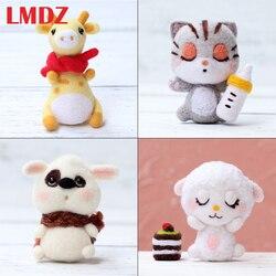 LMDZ 1Pcs Cat Doll Animal Wool Felt Craft DIY Non Finished Poked Set Handcraft Kit For Needle Material Bag Pack DIY Handcarft