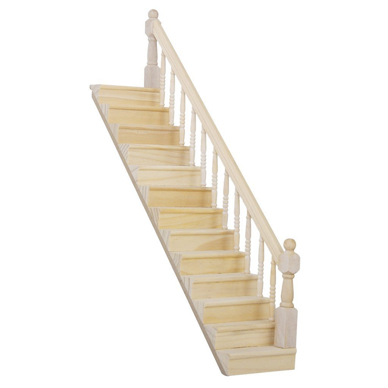 <font><b>1</b></font>:<font><b>12</b></font> Dolls House Wooden Staircase with Right Handrail Pre-Assembled 45-Degree Slope image