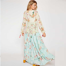 2019 Real Promotion Dress Vestido Longo Spring And Long-sleeved Bohemian Floral Mosaic Holiday Sunscreen High Waist Women