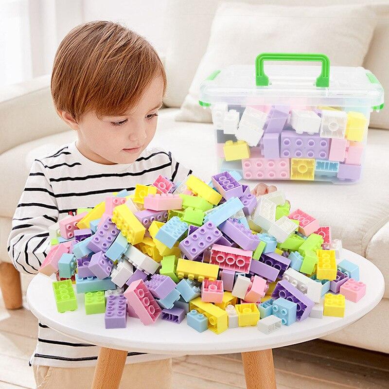 2019 New Kids DIY Tijolos de Brinquedo Saco De Armazenamento Caixa de Brinquedos Juguetes Legoing Blocos De Construção Duplo para o Bebê Da Menina do Menino mais 2 ano