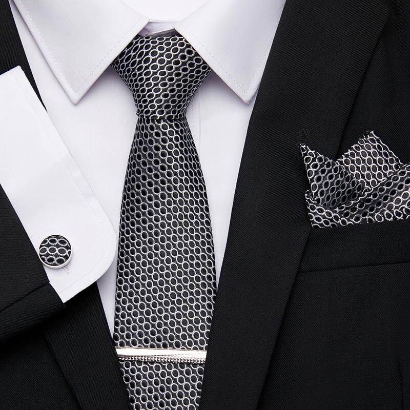 Classic Silk Jacquard Woven Necktie Men/'s Tie /&Cufflinks Hanky Handkerchief Set