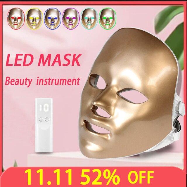 חדש Led פנים מסכת קוריאני 7 צבעים פוטון טיפול פנים מסכת מכונה טיפול באור אקנה Led מסכת טיפוח עור יופי מכונה
