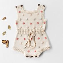 Nowy 2020 Boys Baby dziewczyny pajacyki ubrania dla dzieci pajacyki dzianiny wełniane przędzy pajacyki wiosna niemowlę chłopcy dziewczęta odzież tanie tanio campure COTTON Stałe O-neck Przycisk zadaszone Unisex Bez rękawów 82037 Pasuje prawda na wymiar weź swój normalny rozmiar