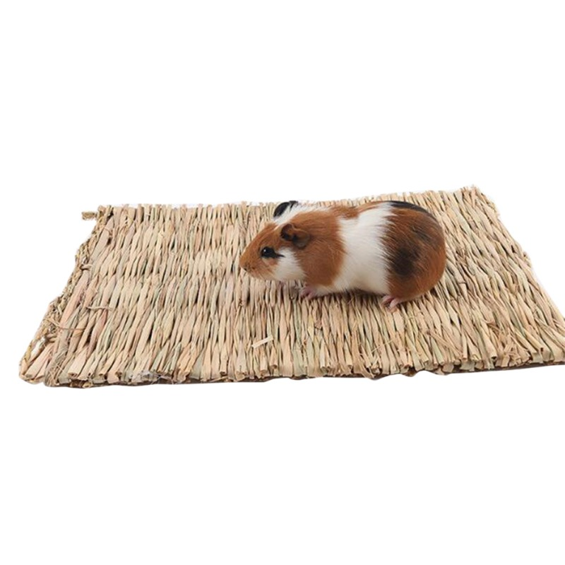 Hamster Grass Weaving Mat Small Pet Nest Squirrel Guinea Pig Ferret Rabbit Edible Molar Handmade Hay Mat Pets Cage Accessory