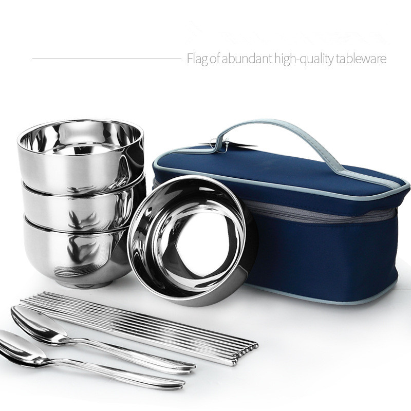 Outdoor Stainless Steel Tableware Camping Cutlery Foldable Chopsticks Spoon Bowls Picnic Tourist Set Bag Dinnerware Travel Tools