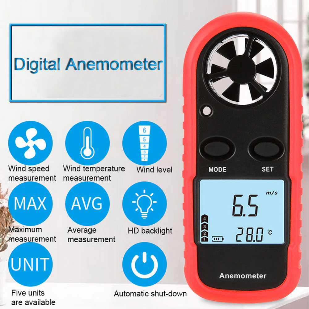 Junejour Digital Anemometer Thermometer Handheld Mini High Accuracy Wind Speed Meter For Measuring Wind Speed Temperature