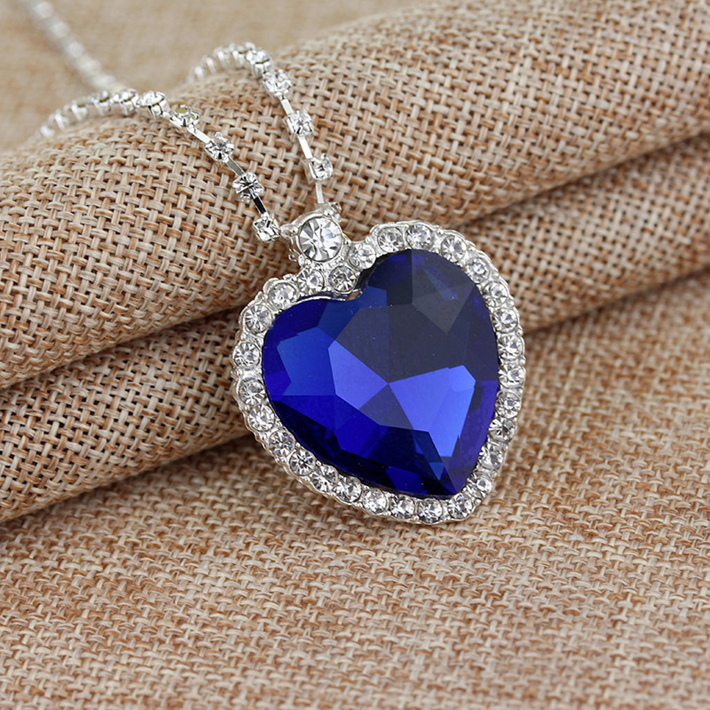 Classic Titanic Heart of Ocean Sapphire Crystal Pendant Necklace Gift-silver color