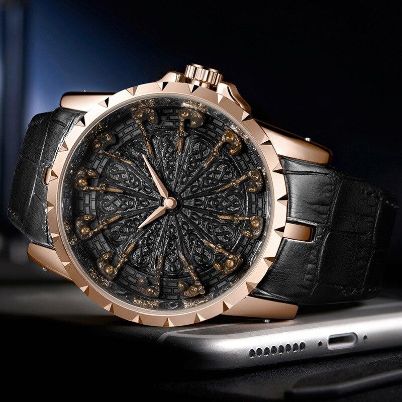 Nouvelle montre à quartz d'affaires pour hommes chevaliers Unique en trois dimensions forme cadeau de noël cadeau d'anniversaire - 3