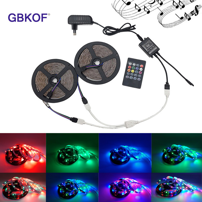 RGB LED Strip 3528 non waterproof 5M 10M set Fita led light birthday present diode led tape set+Music controller+DC12V Power Ada