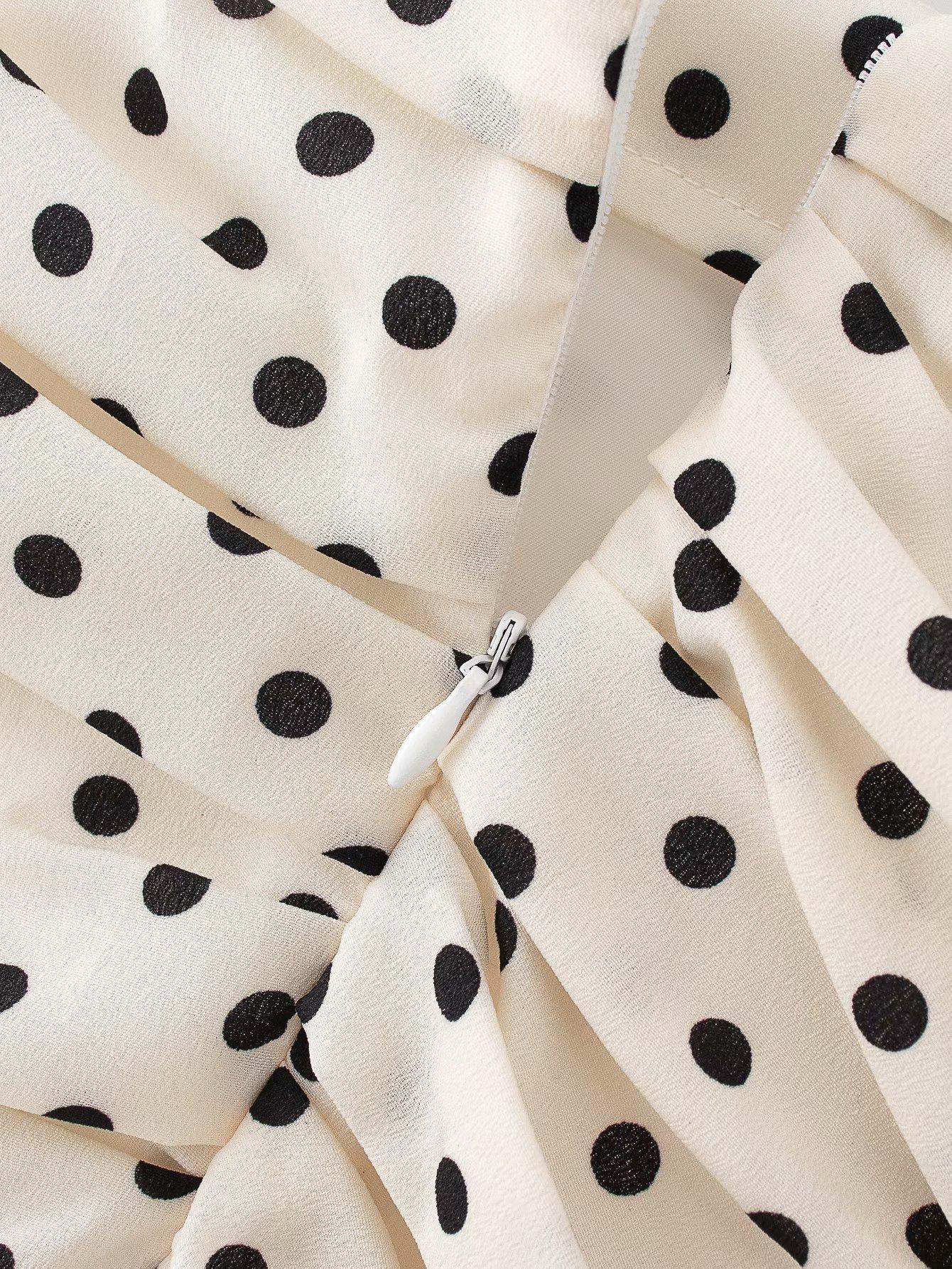 Polka Dot Print Pleated Asymmetrical Skirt 9