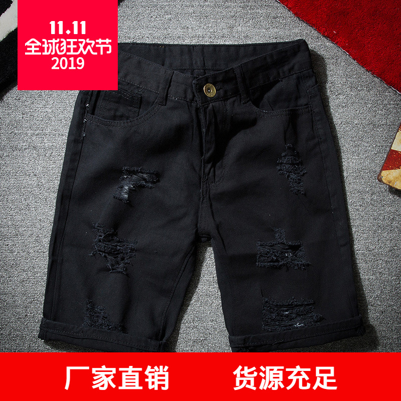 Tile 2019 Summer New Style Teenager Men With Holes Straight-through valve 5 Pants Denim Shorts Men's