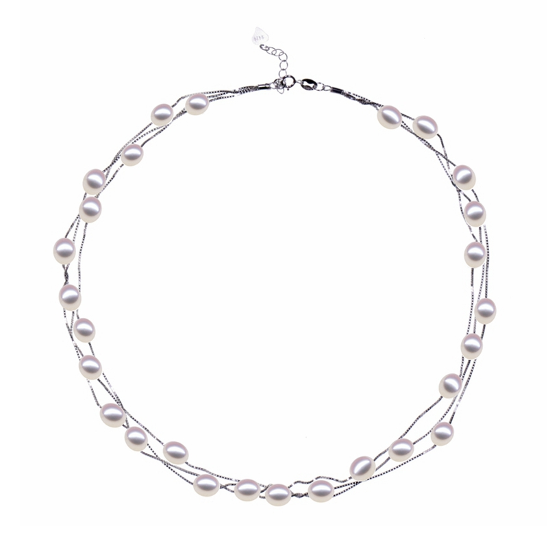 Collar de plata esterlina S925 de oro rosa de múltiples capas Collar - Joyas