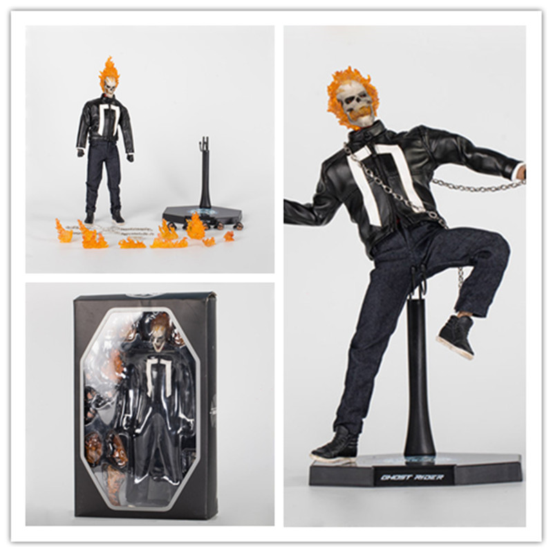 34cm HC 1/6 Ghost Rider VariantHead Light Ver. Ghost Rider PVC FAction Figure Collectible Model Toy