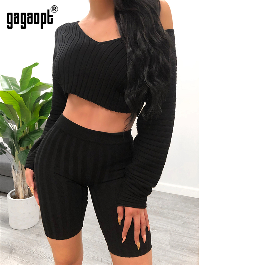 Gagaopt 2 Two Piece Set Autumn Outfits Long Sleeve Sweater Tops+Bodycon Shorts Suit Sexy Matching Sets
