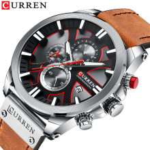 CURREN Male Watch Creative Fashion Design Mens 2019 Top Brand Luminous Chronograph Display Leather Belt Relogio Masculino