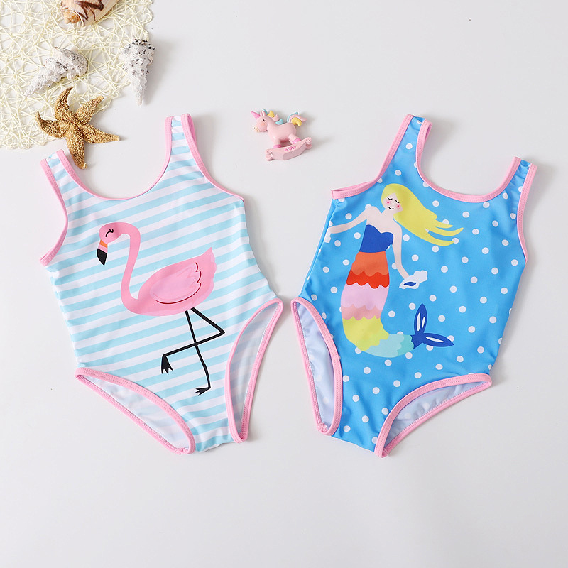 2019 New Style KID'S Swimwear GIRL'S Princess Swimwear Plaid One-piece Girls South Korea Hot Springs Tour Bathing Suit Bikini