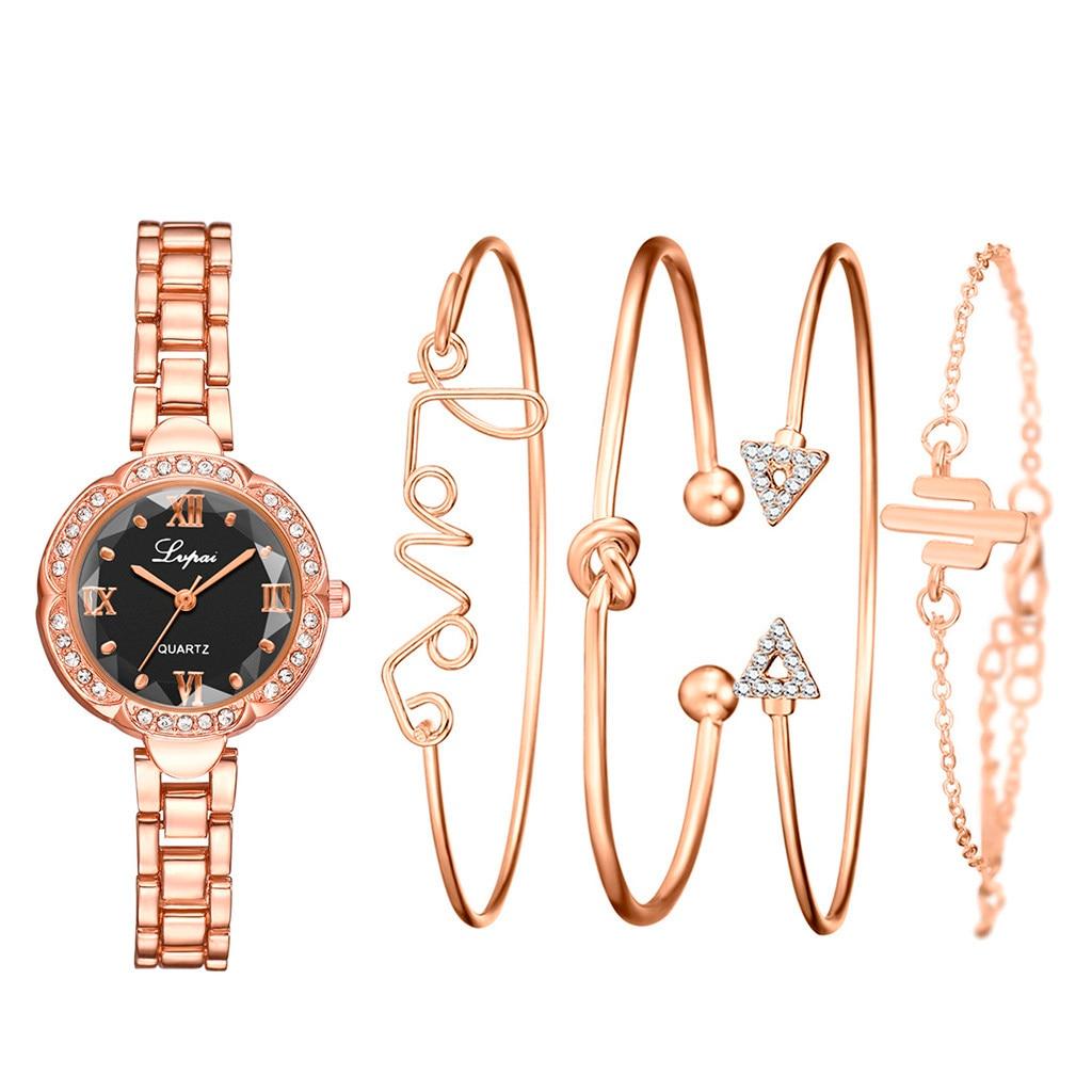 DUOBLA Women Watches Luxury Brand Ladies Watch Quartz Watch Bracelet Watch Geneva Fashion Gold Crystal Watch Bracelet Set