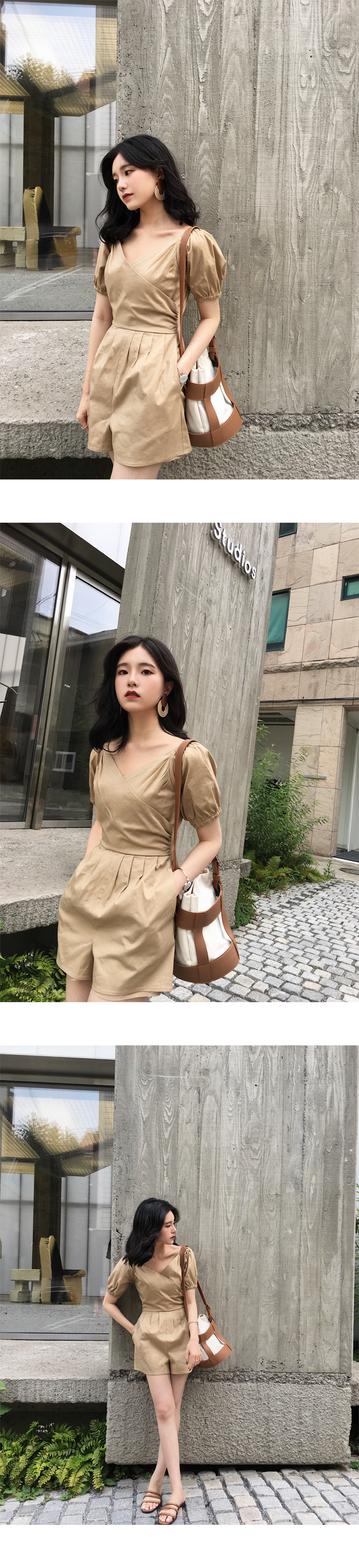 H969ac52bf4cb40bfbdbaeabb4280e3c3X - LLZACOOSH Runway Women Solid Rompers Summer Short Puff Sleeve Casual Playsuits Holiday Short Beach Holiday Jumpsuits