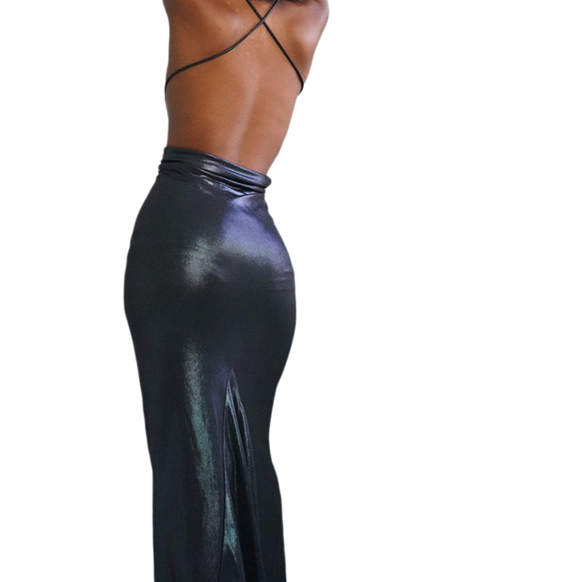 Halter dress women sexy elastick halter black Sexy Strap Backless bodycon dress maxi halter dress y2k nigthclub dressParty dress 4