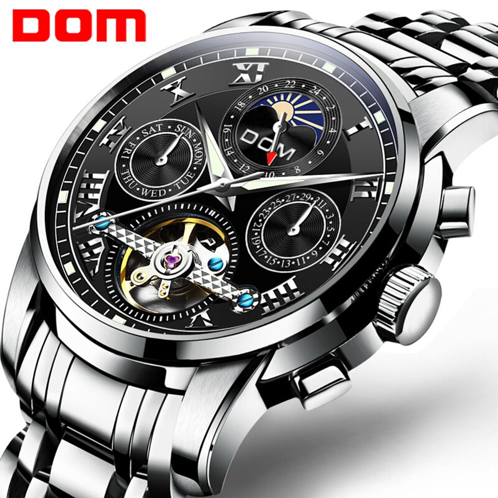 DOM Men Mechanical Watch Self-Wind Stainless Steel Watch Vintage Elegant Waterproof Skeleton Watches Relogio Men M-75D-1MH