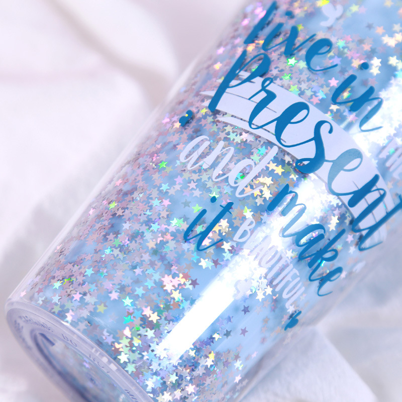 Sequin Decoration Double-walled Insulated Cold Plastic Student Hand-held Double Straw Cup Bottle Layer Sequins Water Cup D6