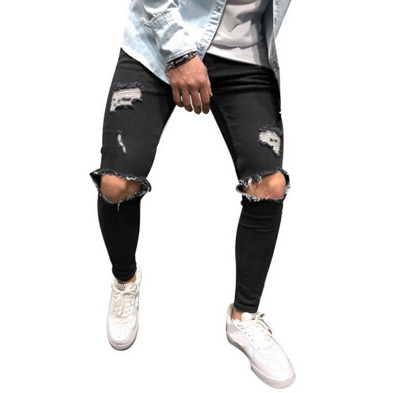 Мужские рваные джинсы для мужчин, повседневные Черные синие обтягивающие облегающие джинсовые штаны, байкерские джинсы в стиле хип-хоп с сексуальными дырками, джинсовые штаны - Цвет: black5