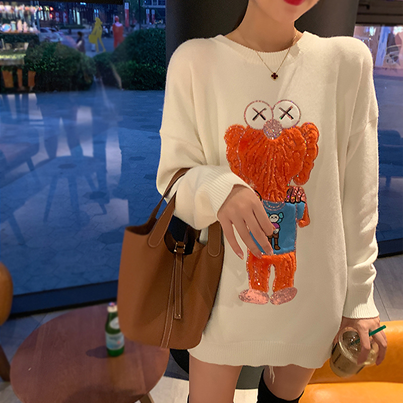 Graphic Cartoon Sequins Cute Sweet Girls Sweater Fashion Lolita Harajuku Long Sleeve Fall Winter