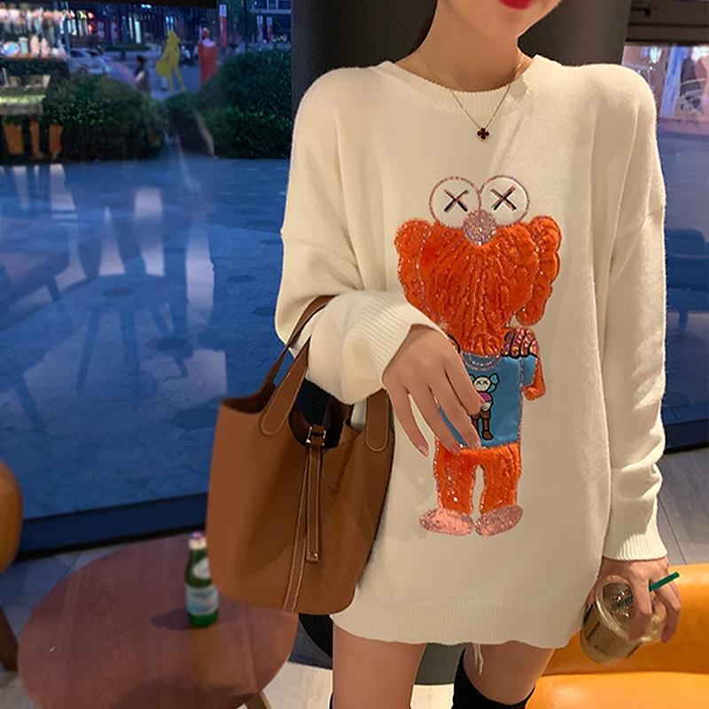 Graphic Cartoon Sequins Cute Sweet Girls Sweater Fashion Lolita Harajuku Long Sleeve Fall Winter