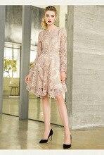 هوك زهرة الجوف التدريجي في نمط طويل كلمة تنورة موضة الخامس الرقبة طويلة الأكمام فستان الدانتيل امرأة