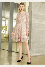 Hook flower hollow out in the long style a word skirt fashion V neck long sleeve lace dress woman