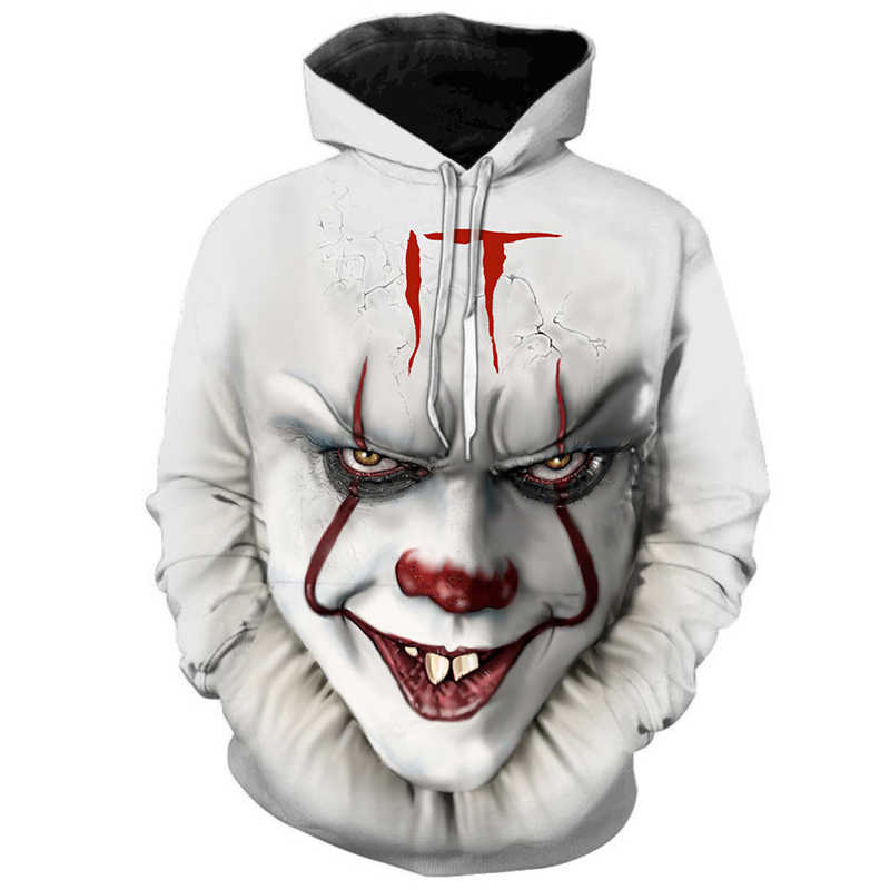 Horror Movies IT Clown 3D Printed Hoodies Men Women Freddy Jason Murderers Film Pullover Annabelle Personality Funny Sweatshirts