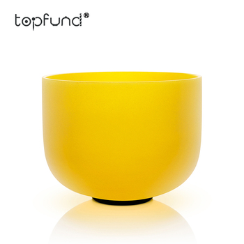 TOPFUND E Note Solar Plexus Chakra Yellow Colored Frosted Quartz Crystal Singing Bowl 12""