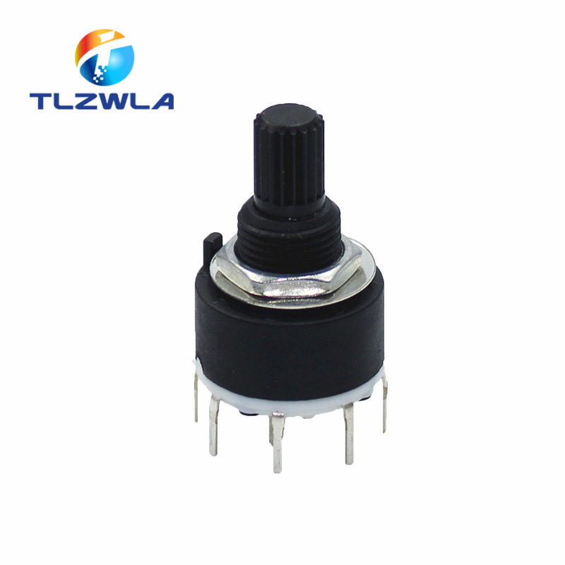 1PCS SR16 Plastic 16MM Rotary Band Switch 2 Pole 3 4 Position 1 Pole 5 6 8 Position Handle Length 15MM Axis Band Switch