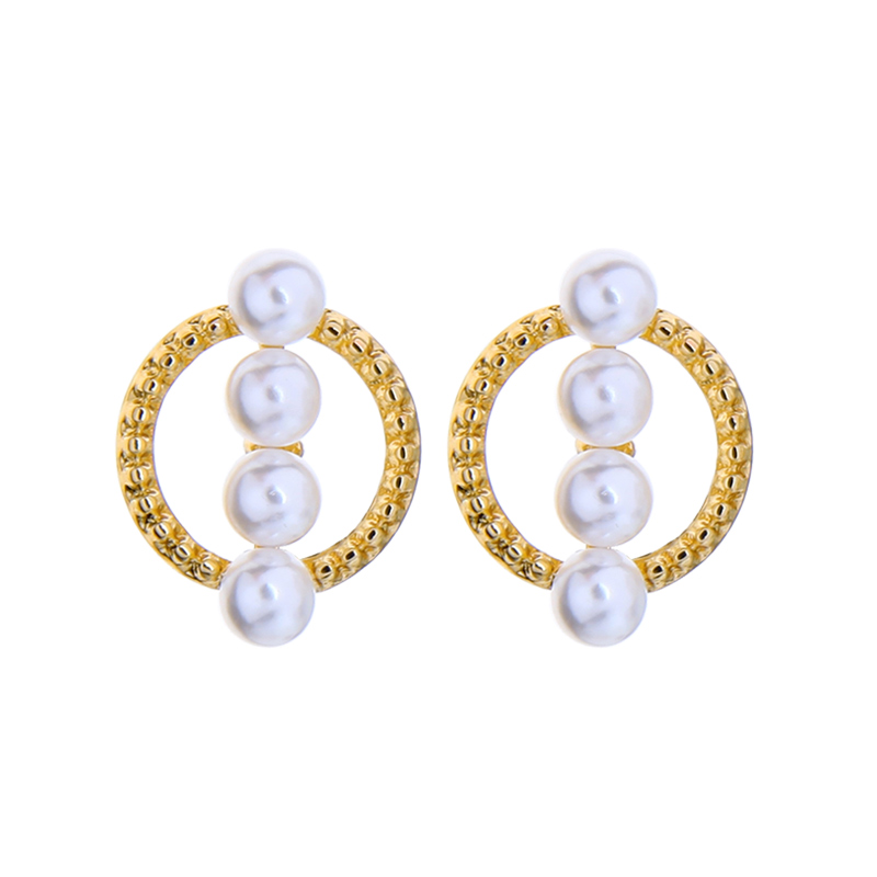 Acrylic Pearl Earrings Gold Color Circle Stud Earrings For Women Girls Cheap Wholesale Jewelry 2020 New Design