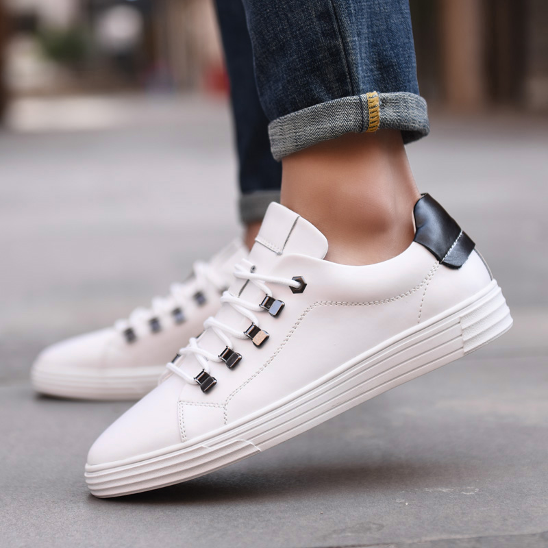 2019 Fashion White Women Sneaker Men Leather Casual Shoes Lace up Flats Tenis Feminino Zapatos De Mujer Size 38 44 in Women 39 s Flats from Shoes